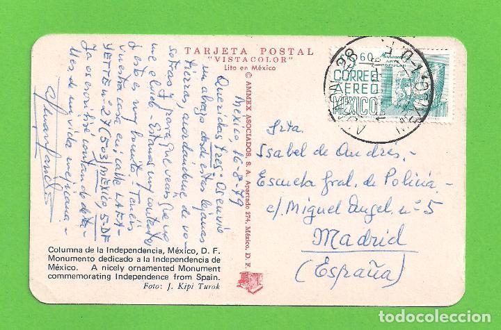 Postales: POSTAL COLUMNA DE LA INDEPENDENCIA, MEXICO D.F. CIRCULADA - Foto 2 - 132735622