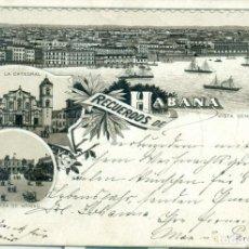 Postales: CUBA. RECUERDOS DE HABANA. CIRCULADA A ALEMANIA EN 1897. PIEZA EXCEPCIONAL, ÚNICA.. Lote 136112662