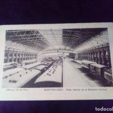 Postales: POSTAL MONTEVIDEO VISTA INTERIOR DE LA ESTACIÓN CENTRAL CIRCULADA EN 1909 TREN. Lote 141827282