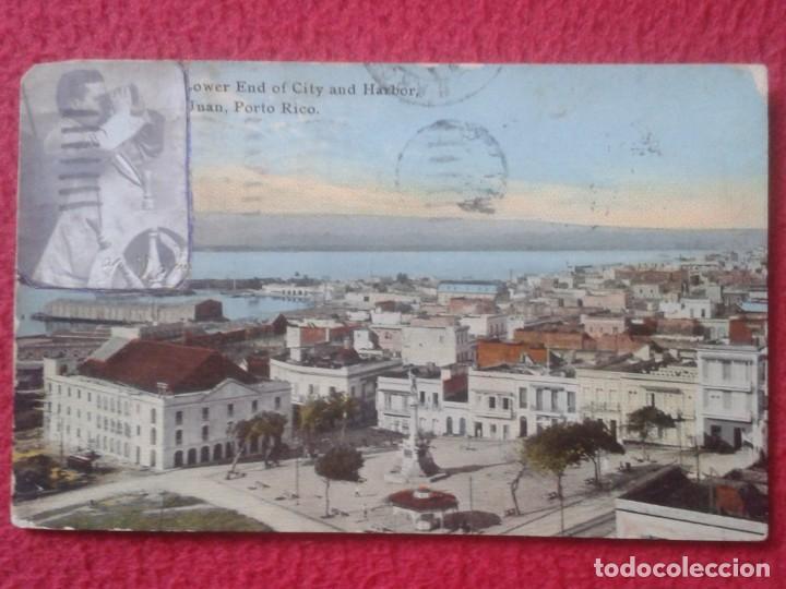 TARJETA POSTAL POST CARD CARTE POSTALE SAN JUAN PORTO PUERTO RICO USA END OF CITY AND HARBOR VER FOT (Postales - Postales Extranjero - América)
