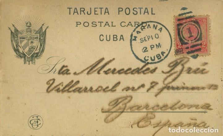 Postales: RECUERDO DE LA HABANA. CIRCULADA EN 1907 A BARCELONA. - Foto 2 - 147621794