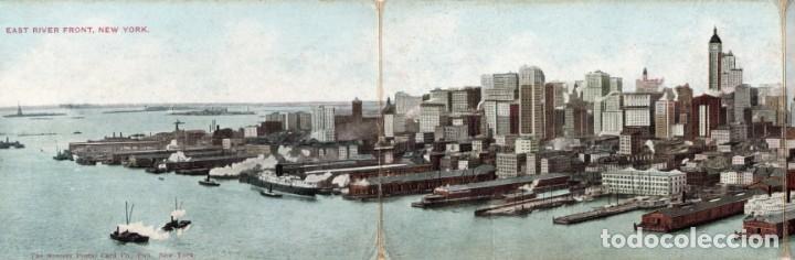 NEW YORK. EAST RIVER FRONT. POSTAL TRIPLE (Postales - Postales Extranjero - América)