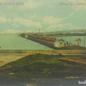 Muelle de Limon. Tarjeta postal antigua. República de Costa Rica