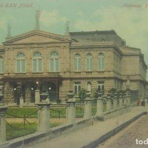 Teatro nacional. San José. Tarjeta postal antigua. República de Costa Rica