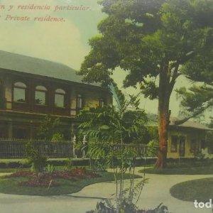 Parque de Morazan y residencia particular. Tarjeta postal antigua. República de Costa Rica