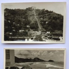 Postales: LOTE 2 POSTALES FOTOGRÁFICAS - SANTOS BRASIL MONTE SERRAT & VISTA SOBRE ONDAS - FOTO POSTAL COLOMBO. Lote 156654430
