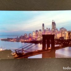 Postales: POSTAL NIGHTFALL IN LOWER MANHATTAN, WITH BROOKLYN BRIDGE. NEW YORK. (SIN CIRCULAR). Lote 156694086