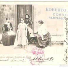 Postales: CHILE. COSTUMBRES CHILENAS, LECCIÓN DE CUECA.CIRCULADA EN 1903 DE SANTIAGO A NIÁGARA COUNTY NYC. Lote 156753738
