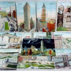 Postales: LOTE 11 ANTIGUAS TARJETA POSTAL COLOREADAS NEW YORK. POST CARD. SIN ESCRIBIR.. Lote 165933418
