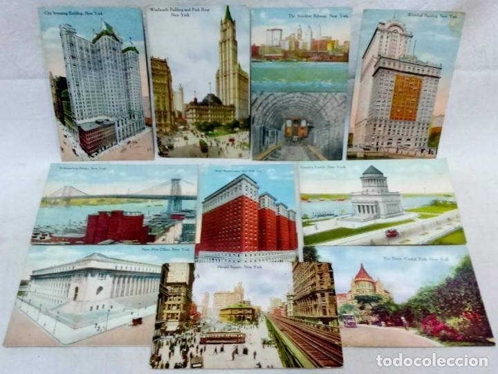 LOTE 10 ANTIGUAS TARJETA POSTAL COLOREADAS NEW YORK. POST CARD. SIN ESCRIBIR. (Postales - Postales Extranjero - América)