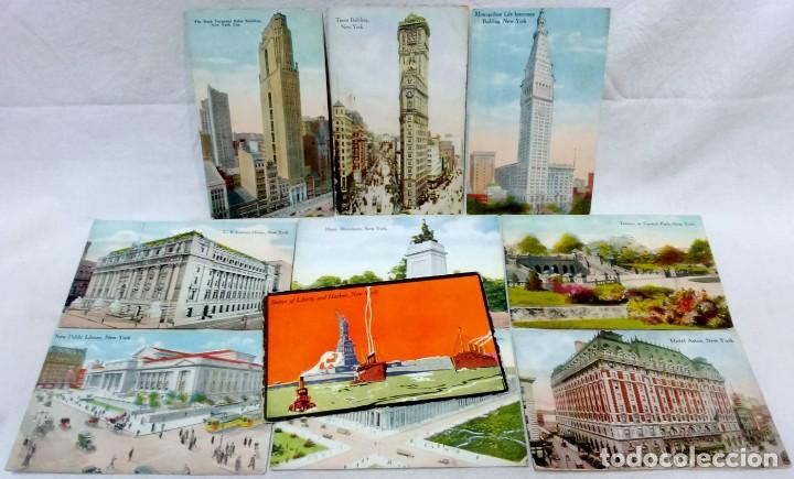 LOTE 10 ANTIGUAS POSTALES COLOREADAS NEW YORK. POST CARD. SIN ESCRIBIR. (Postales - Postales Extranjero - América)