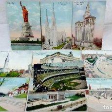 Postales: LOTE 10 ANTIGUAS POSTALES COLOREADAS NEW YORK. POST CARD. SIN ESCRIBIR.. Lote 165952926