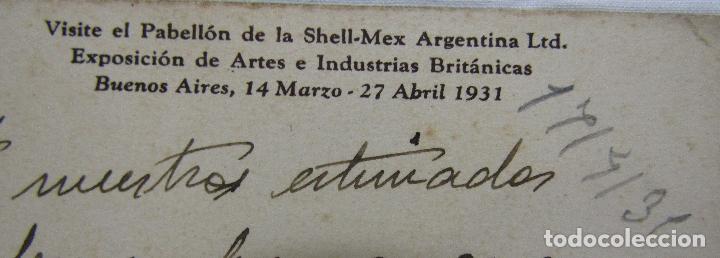 Postales: POSTAL PABELLON SHELL - MEX BUENOS AIRES 1931 - Foto 3 - 166914160