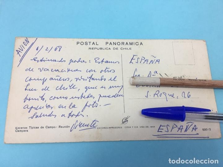 Postales: POSTAL PANORAMICA, REPUPLICA DE CHILE, ESCENAS TIPICAS, REUNION CAMPESTRE, ESCRITA Y FECHADA 1968 - Foto 2 - 170420156