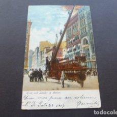 Postales: NUEVA YORK ESTADOS UNIDOS HOOK AND LADDER IN ACTION BOMBEROS. Lote 175182457