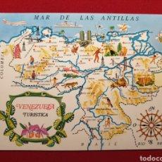 Postales: VENEZUELA TURÍSTICA. MAPA Y MAR DE LAS ANTILLAS. TARJETAS SANTIAGO Nº 252. Lote 176307715