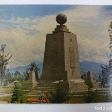 Postales: POSTAL. MONUMENTO EQUINOCCIAL LATITUD. QUITO ECUADOR. FOTO PAZMIÑO. ESCRITA. . Lote 176903698