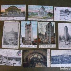 Postales: LOTE DE 10 POSTALES ANTIGUAS DE NUEVA YORK. EN TORNO A 1910.. Lote 177494604