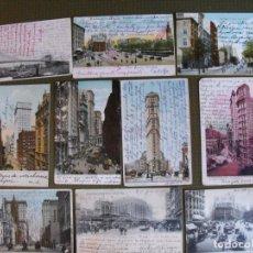 Postales: LOTE DE 10 POSTALES ANTIGUAS DE NUEVA YORK. EN TORNO A 1910.. Lote 177494910