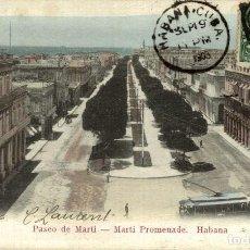 Postales: CUBA PASEO DE MARTI MARTI PROMENADE GABANA 1908. Lote 184324140