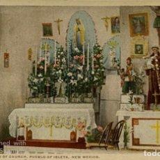 Postales: TARJETA POSTAL. EEUU. NEW MEXICO. PUEBLO OF ISLETA. INTERIOR OF CHURCH. H.-2016. COPR. FRED HARVEY. Lote 186414415