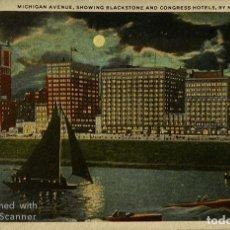 Postales: TARJETA POSTAL. EEUU. CHICAGO. MICHIGAN.MICHIGAN 235.-AVENUE, SHOWING BLACKSTONE AND CONGRESS HOTELS. Lote 186414675