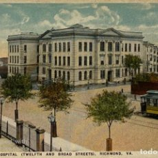 Postales: TARJETA POSTAL. EEUU. VIRGINIA. RICHMOND. 21.-MEMORIAL HOSPITAL. TEWLFTH AND BROAD STREETS. . Lote 186414771