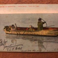 Postales: REPÚBLICA ARGENTINA, INDIOS HONAS - TIERRA DE FUEGO. POSTAL CIRCULADA EN 1909. N° 180 EDICIÓN Z. FUM. Lote 189906643