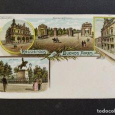 Postales: ARGENTINA-RECUERDOS DE BUENOS AIRES-VARIAS VISTAS-REVERSO SIN DIVIDIR-POSTAL ANTIGUA-(65.948). Lote 190291648