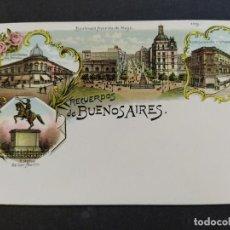 Postales: ARGENTINA-RECUERDOS DE BUENOS AIRES-VARIAS VISTAS-REVERSO SIN DIVIDIR-POSTAL ANTIGUA-(65.955). Lote 190291836