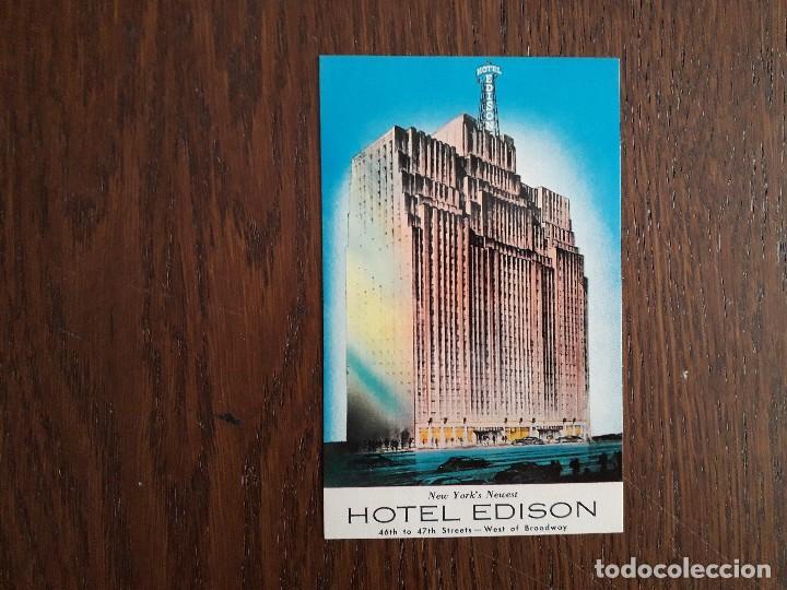 POSTAL DE PUBLICIDAD, HOTEL EDISON, NUEVA YORK. USA (Postales - Postales Extranjero - América)