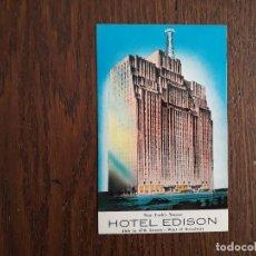 Postales: POSTAL DE PUBLICIDAD, HOTEL EDISON, NUEVA YORK. USA. Lote 192287255