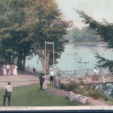 Postales: POSTAL NEW YORK - RIVER SCENE - SACANDAGA PARK - ON THE FONDA - JOHNSTOWN & GLOVERSVILLE R R. Lote 193054928