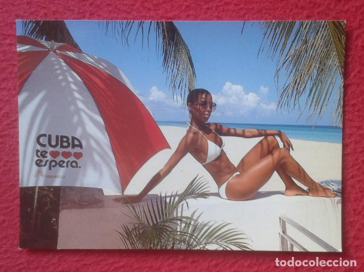 POSTAL ERÓTICA EROTIC EROTIQUE FEMME WOMAN GIRL MUJER CHICA CUBA TE ESPERA AWAITS YOU MULATA MULATTA (Postales - Postales Extranjero - América)