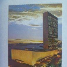 Postales: POSTAL DE NUEVA YORK ( ESTADOS UNIDOS ): EL EDIFICIO DE LAS NACIONES UNIDAS DE NOCHE. Lote 194214760