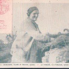 Postales: POSTAL QUEBEC - WINNOWING - ISLAND OF ORLEANS - CIRCULADA DOBLE SELLO. Lote 194382493