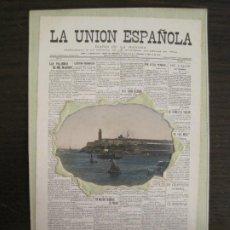Postales: RECUERDO DE CUBA-LA UNION ESPAÑOLA-CASTILLO DEL MORRO-POSTAL ANTIGUA-(67.928). Lote 194876775
