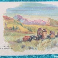 Postales: ANTIGUA POSTAL ARGENTINA. AÑOS 50.CARRETAS ANTIGUAS POR EL NORTE DE ARGENTINA. SIN CIRCULAR. Lote 195510311