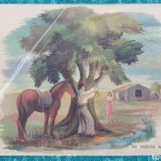 Postales: ANTIGUA POSTAL ARGENTINA. AÑOS 50. DE VUELTA AL PAGO. SON CIRCULAR. Lote 195510587