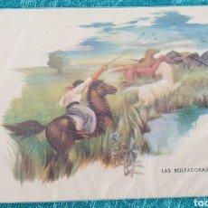Postales: ANTIGUA POSTAL ARGENTINA. AÑOS 50.LAS BOLEADORAS. SIN CIRCULAR. Lote 195510775
