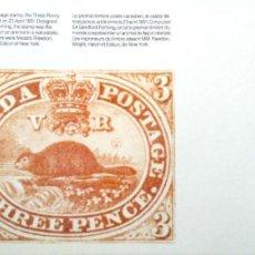 Postales: CANADA'82. EXPOSICIÓN FILATÉLICA MUNDIAL DE LA JUVENTUD. REPRODUCCIÓN DEL PRIMER SELLO CANADIENSE: C. Lote 195531928