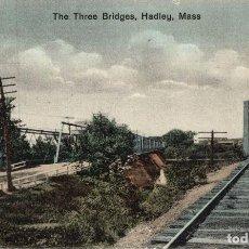 Postales: HADLEY. MASS. THE THREE BRIDGES. RAILWAY. Lote 196138761