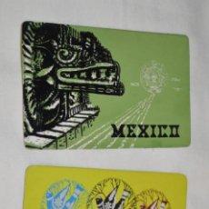 Postales: 2 POSTALES - MÉXICO 68 / CONMEMORATIVAS JUEGOS OLÍMPICOS - PRECIOSAS DETALLES EN TERCIOPELO. Lote 196308192