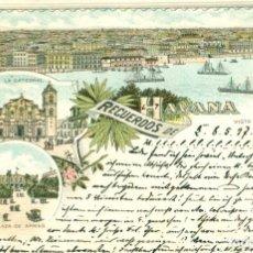 Postales: RECUERDOS DE HABANA. CIRCULADA EN 1897. PIEZA RARÍSIMA.. Lote 196604895
