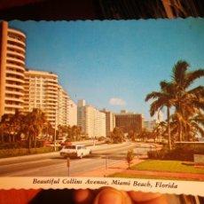 Postales: POSTAL MIAMI BEACH FLORIDA BEATIFUL COLLINS AVENUE ESCRITA Y BELLAMENTE SELLADA. Lote 199006395