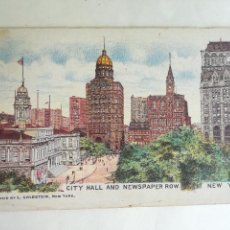 Postales: ANTIGUA POSTAL NUEVA YORK. CITY HALL AND NEWSPAPER ROW. NEW YORK. PUBLISHED BY L. GOLDSTEIN.. Lote 202372921