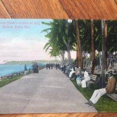Postales: POSTAL. SANTURCE, PUERTO RICO. EL PARQUE (PASEO ORILLA DEL MAR). COL. PARIS-BAZAR. SIN PARTIR.. Lote 203232146