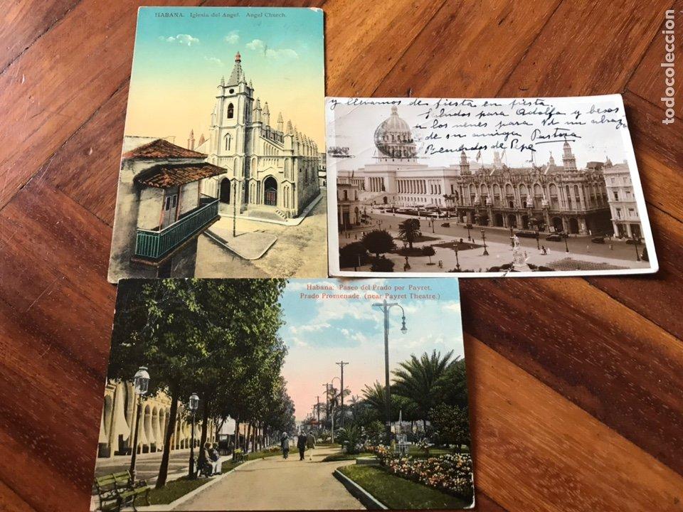 LOTE 3 POSTALES LA HABANA, CUBA. PASEO PRADO, IGLESIA ANGEL, PARQUE CENTRAL, CENTRO GALLEGO. (Postales - Postales Extranjero - América)