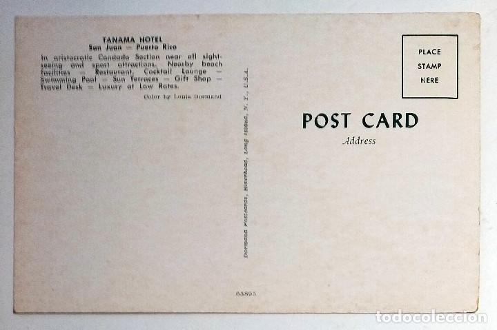 Postales: San Juan (Puerto Rico). Tarjeta Postal del Hotel Tanamá. Dormand Postcards nº 63895. - Foto 2 - 211896598