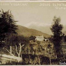 """Postales: OLMUÉ, CHILE. IGLESIA Y """"CERRO VIZCACHA"""" DESDE EL HOTEL ASTURIAS. FOTOGRÁFICA. Lote 214241218"""